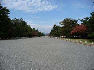 先が霞んでしまうほどの広さがある京都御苑