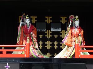 新御車寄に飾られた五節の舞の人形