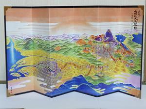 平成の京阪大鳥瞰図小屏風