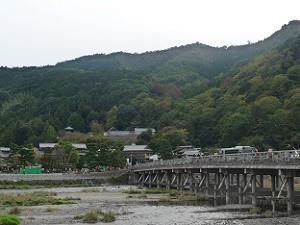 渡月橋の南は青葉が目立つ