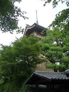 見上げる祇園閣