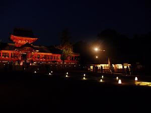 ライトアップされた石清水八幡宮