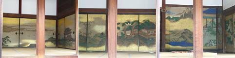 左から岳陽楼図、蘭亭ノ図、十八学士登瀛州図
