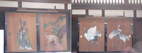 寿老人(左)と鶴(右)