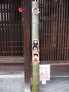 竹の中に飾られた雛人形