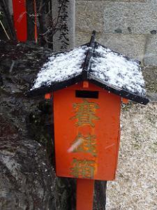 雪が積もる賽銭箱