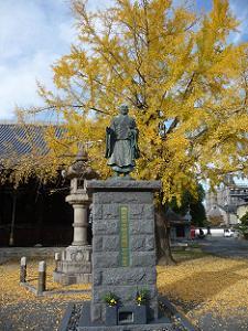 日蓮聖人とイチョウ