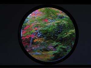 悟りの窓から見る紅葉