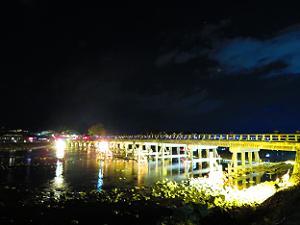 ライトアップされた渡月橋