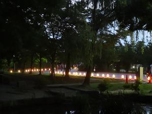 木々の間から見える行灯の光