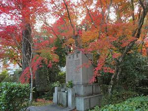 慰霊塔と紅葉