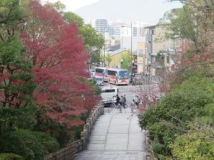 総門から見る参道の紅葉