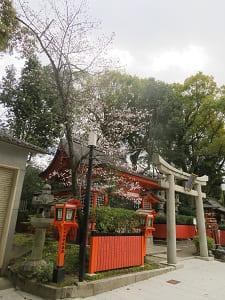 美御前社と咲き始めの桜
